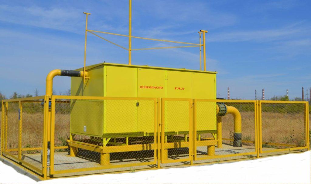 Газопровод высокого давления с установкой ГРПШ